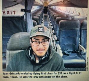 One passenger on an empty plane